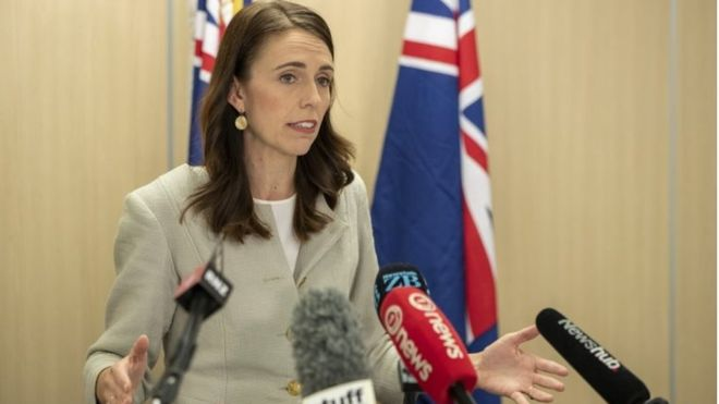 New Zealand's PM talked to the press about hard measures to contain the spread of virus.