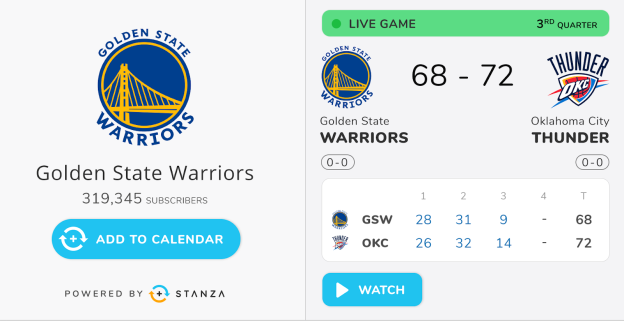 Sports leagues including the NBA, NFL, NHL, MLS and collegiate properties leverage Stanza's calendar marketing suite.