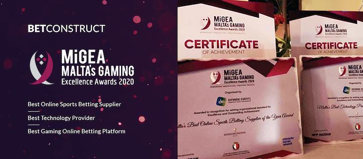 BetConstruct picked up three awards at Malta's Gaming Excellence Awards 2020.