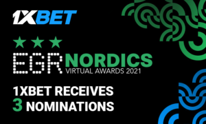 1xBet nominated for 3 prestigious EGR Nordics Virtual Awards